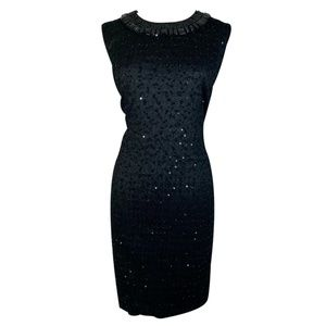 Black Cocktail Dress Knit Sequin Beads Sheath NWT